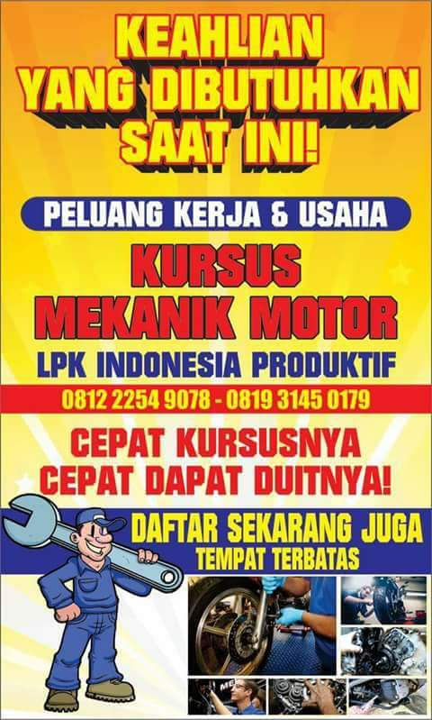 Peluang Usaha Kursus Mekanik Motor Untuk Warga Dari Jombang, Kab. Jombang  MES DISEDIAKAN